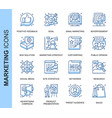thin line marketing related icons set vector image