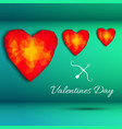 three hearts background vector image
