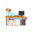 tired businessman sleeping on his chair in the vector image vector image