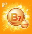 vitamin b7 biotin vitamin gold oil pill vector image vector image