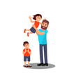 volunteer and little children having fun together vector image