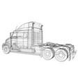 wire-frame big truck isolated on white vector image vector image