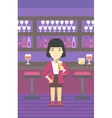 Woman drinking orange cocktail at the bar vector image vector image