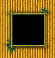 Bamboo frame on the bamboo background vector image