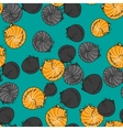 Seamless pattern funny cats isolated on turquoise vector image