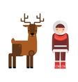 Wild deer animal and eskimo people flat vector image
