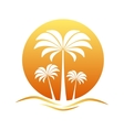Sunset with palm trees vector image