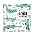 a set cute crocodiles vector image
