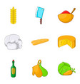 baguette icons set cartoon style vector image vector image