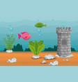 beautiful aquarium scene icon vector image