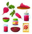 beetroot food or vegetarian cooking products set vector image