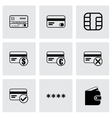 black credit card eyes icons set vector image vector image