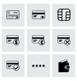 black credit card eyes icons set vector image vector image