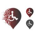 broken dot halftone disabled person parking marker vector image vector image