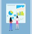 business statistics charts female entrepreneurs vector image vector image