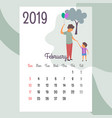 calendar 2019 february calendarcalendar vector image vector image