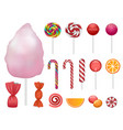 candy icon set realistic style vector image