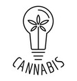 cannabis bulb logo outline style vector image vector image