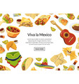 cartoon mexican food background with place vector image