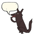 cartoon wolf licking paw with speech bubble vector image vector image