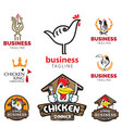 chicken theme logo set food business vector image