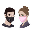 colorful air pollution face masks set isolated vector image vector image