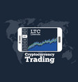 Cryptocurrency trading concept in line art style