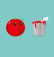 cute cartoon tomato and tomato soup vector image