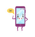 cute humanized smartphone with kawaii face showing vector image vector image