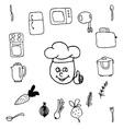 Doodle set of kitchen vector image