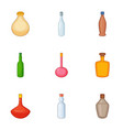 empty glass bottle icons set cartoon style vector image vector image