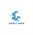family swan abstract logo vector image