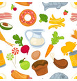 fast food and vegetables dairy products and pastry vector image vector image