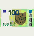 fictional hundred denomination banknote and tiger vector image vector image