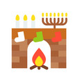 fireplace flat style icon vector image