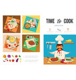 flat healthy food cooking infographic template vector image vector image