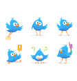 flying blue birds in cartoon style vector image