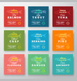 fresh fillets premium quality labels set abstract vector image