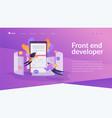 front end development it landing page template vector image vector image