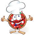 fun pizza cartoon with hat and thumb up vector image vector image