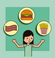girl cartoon and food burger french fries and vector image