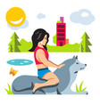 girl with dog flat style colorful cartoon vector image