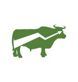 Green bull up arrow exchange trader business vector image