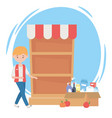 guy with sold out shelf and cardboard box full vector image
