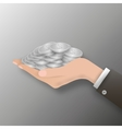 hand full of coin vector image vector image