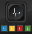 Heartbeat icon symbol Set of five colorful stylish vector image vector image
