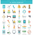 hotel color flat icon set Elegant style vector image vector image