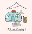 i love camping concept with cute bear and camping vector image