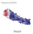 isolated icon nepal map polygonal geometric vector image vector image