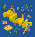 isometric playground objects around word vector image vector image